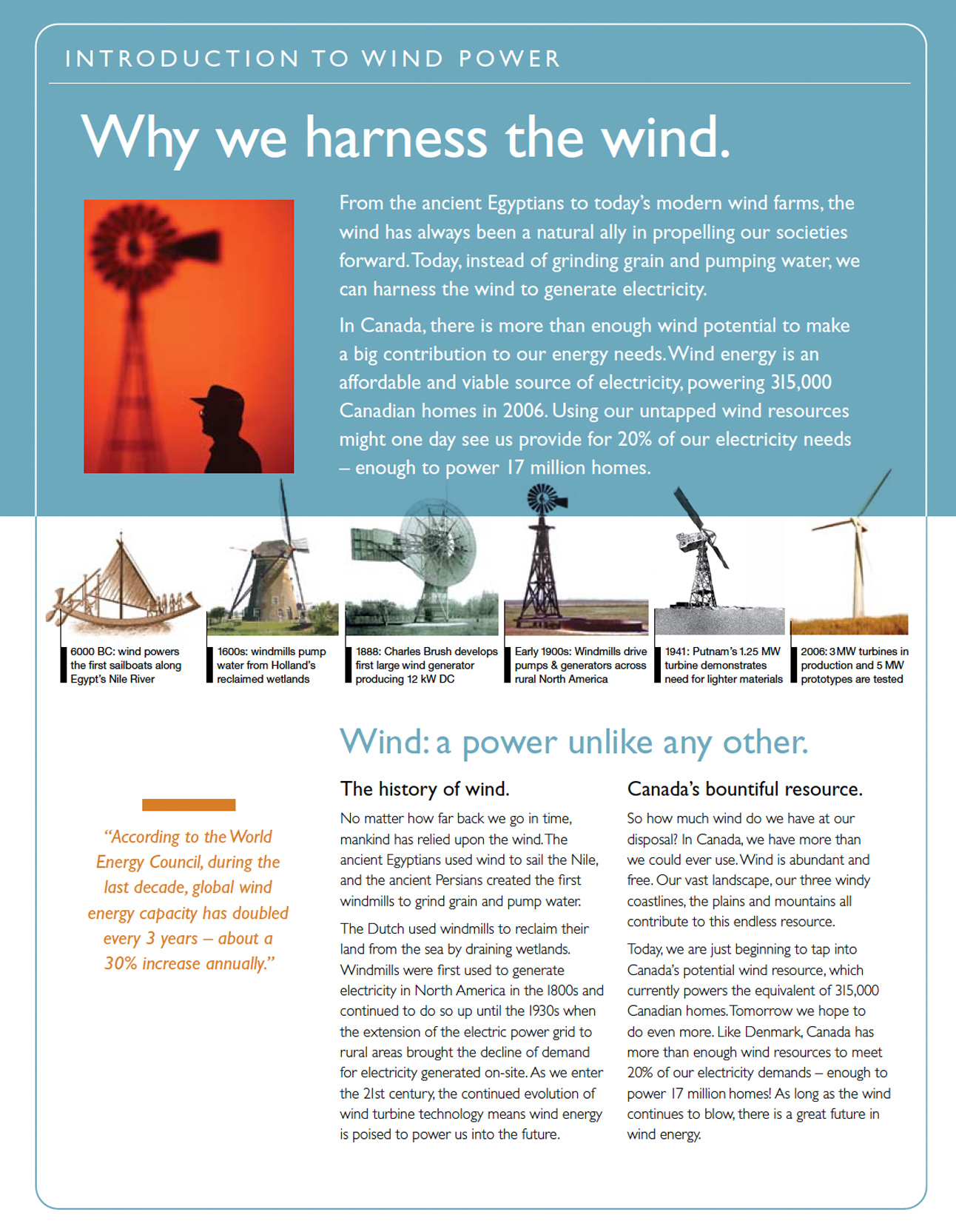 renewable energy infographics are peppered throughout this comprehensive information kit on wind energy in Canada